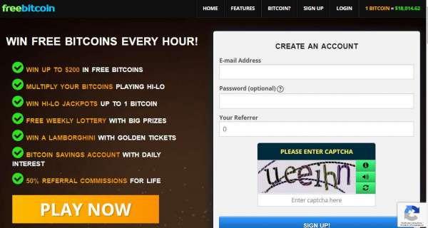 Регистрация на сайте freebitco.in